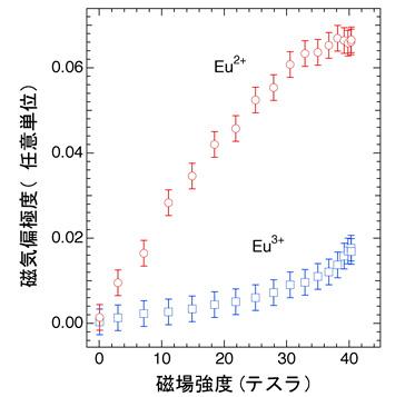 図4:ユーロピウム元素(Eu)の異なる電子価数状態(Eu2+、Eu3+)における磁気応答(磁気偏極度)の磁場依存性